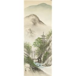 SONG LING Chinese Watercolor Landscape Scroll