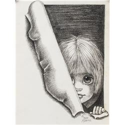 MARGARET KEANE US b. 1927 Graphite on Paper