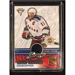 2003 PRIVATE STOCK TITANIUM GAME WORN JERSEY MARK MESSIER