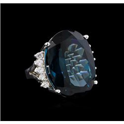 14KT White Gold 40.61 ctw Blue Topaz and Diamond Ring