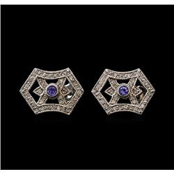 0.23 ctw Tanzanite and Diamond Earrings - 14KT White Gold