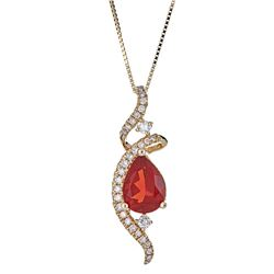0.81 ctw Fire Opal and Diamond Pendant - 14KT Yellow Gold