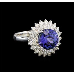 14KT White Gold 4.51 ctw Tanzanite and Diamond Ring
