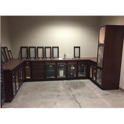 NEW Kitchen Display Cabinets, Glass Front. Includes all Cabinet Accessories as pictured. 20 doors.In