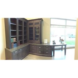 Display D15 - NEW Cabinet Library/Study Set Tamarind Maple. With Bookshelves and drawers.Includes al