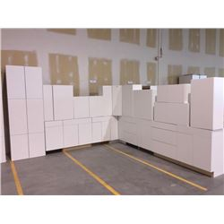 NEW white Kitchen Cabinet set ( 37 DOORS) includes all uppers assorted size and Kitchen base cabinet
