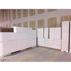 NEW white Kitchen Cabinet set ( 39 DOORS) includes all uppers assorted size and Kitchen base cabinet