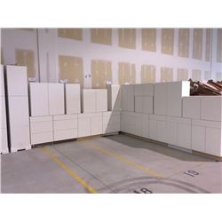 NEW white Kitchen Cabinet set ( 48 DOORS) includes all uppers assorted size and Kitchen base cabinet