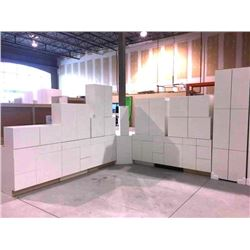 NEW white Cabinet set ( 34 DOORS) includes all uppers assorted size and Vanity base cabinets assorte