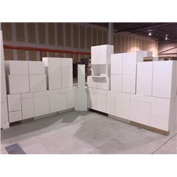 NEW white Cabinet set ( 42 DOORS) includes all uppers assorted size and Vanity base cabinets assorte