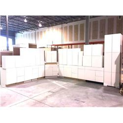 NEW white Cabinet set ( 49 DOORS) includes all uppers assorted size and Vanity base cabinets assorte