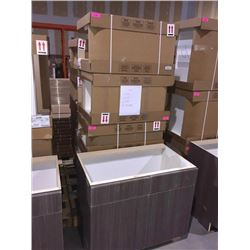 LOT of 10 NEW in boxes, Gray Vanity Base cabinets assorted sizes.