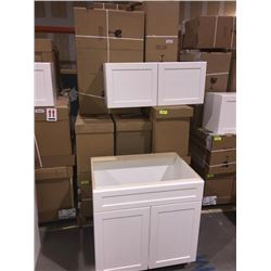 LOT of 14 NEW in boxes, white Vanity Base and upper cabinets assorted sizes.