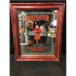 "COLLECTIBLE BEEFEATER LONDON DISTILLED DRY GIN FRAMED MIRROR (12"" X 12"")"