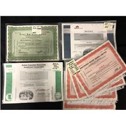 VINTAGE STOCK CERTIFICATES LOT