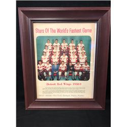 "1958-59 DETROIT RED WINGS TEAM PHOTO NEWSPRINT FRAMED 15"" X 12"" (STAR WEEKLY)"