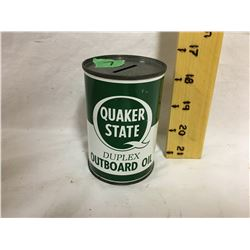 QUAKER STATE, OUTBOARD OIL TIN BANK, 10 OZ, CANADIAN
