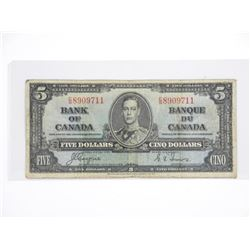 Bank of Canada 1937 Five Dollar Note. C/T