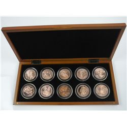 Lot (10) 1oz Pure Copper Coins in Wood Case