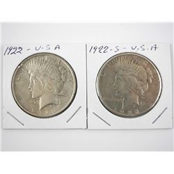 Lot (2) USA Peace Silver Dollars: 1922 and 1922S