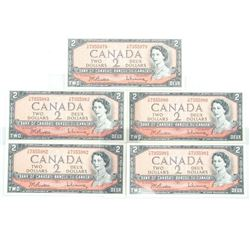 Lot (5) Bank of Canada 1954 2.00 Modified Portrait
