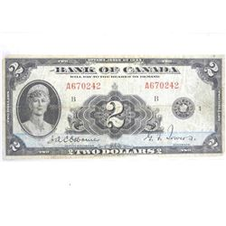 Bank of Canada 1935 - Two Dollar Note. Osbourne-To