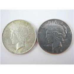 Lot (2) USA Silver Peace Dollars: 1923 and 1926