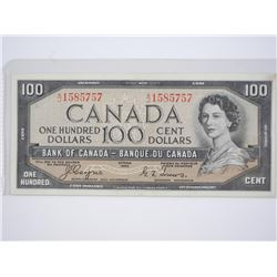 Bank of Canada 1954 - One Hundred Dollar Note. (EF