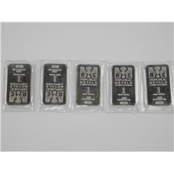 Lot (5) .9999 Pure Fine Silver Bars, 5oz ASW