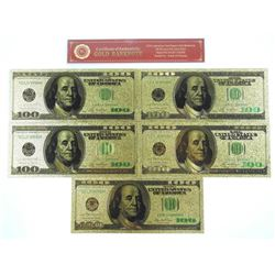 Lot (5) USA $100.00 Collector Notes 24kt Gold Leaf