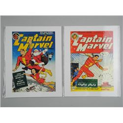 Lot (2) 'Captain Marvel' Vintage Comic Covers. 11x