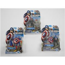 Lot (3) Hasbro, Captain America, Marvel - 'The Fir