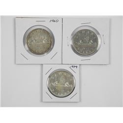 Lot (3) CAD Silver Dollars: 1950, 1959, 1960