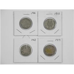 Lot (4) CAD Silver 25 Cent: 1912, 1913, 1914, 1916