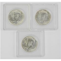 Lot (3) 1964 US Kennedy Half Dollar 90% Silver