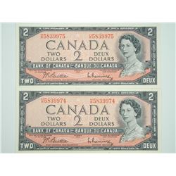 (LUN 3) Lot (2) Bank of Canada 1954 2.00 In Sequen