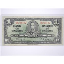 Bank of Canada 1937 - One Dollar Note. C/T