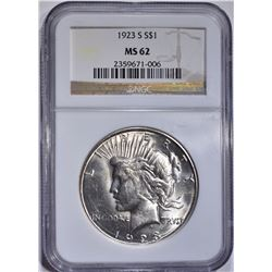 1923-S PEACE DOLLAR, NGC MS-62