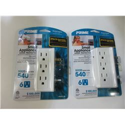 2 New Small Appliance Surge Protectors / 6 outlet