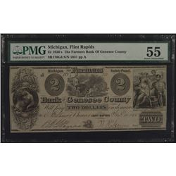 1830'S $2 The Farmers Bank of Genesee County Note PMG 55