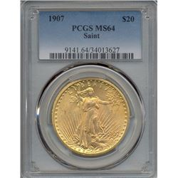 1907 $20 St Gaudens Double Eagle Gold Coin PCGS MS64