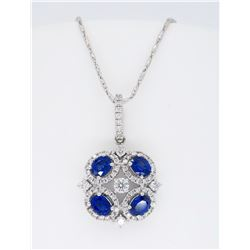 18KT White Gold 1.04ctw Blue Sapphire and Diamond Pendant with Chain