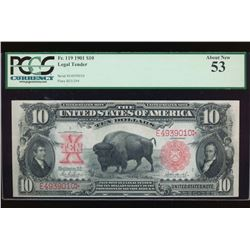 1901 $10 Bison Legal Tender Note PCGS 53