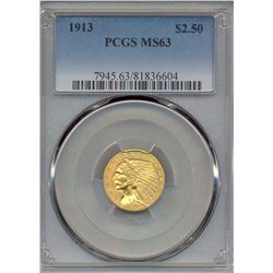 1913 $2.5 Indian Head Quarter Eagle Gold Coin PCGS MS63