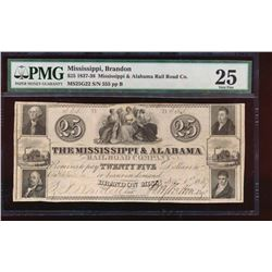 1837 $25 Mississippi and Alabama Obsolete Note PMG 25
