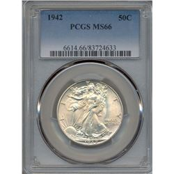 1942 Walking Liberty Half Dollar Coin PCGS MS66