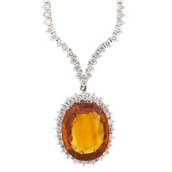 18KT White Gold 26.40ct GIA Cert Orange Sapphire and Diamond Necklace