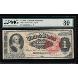 1866 $1 Martha Washington Silver Certificate PMG 30