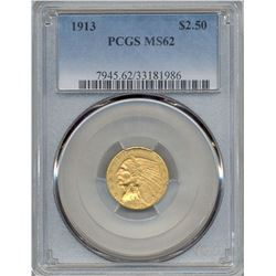 1913 $2.5 Indian Head Quarter Eagle Gold Coin NGC MS62