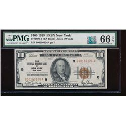 1929 $100 New York Federal Reserve Bank Note PMG 66EPQ